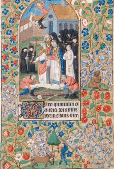 Scène d'enterrement (avec lutte d'un ange et d'un démon pour l'âme du défunt). Heures Latines à l'usage de Rouen. Grenoble, Bibliothèque Municipale. 1450